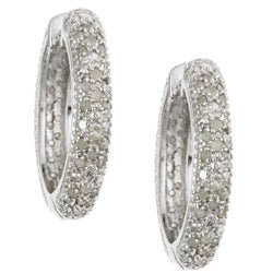 Miadora Sterling Silver 1/2ct Diamond Hoop Earrings (G-H, I2-I3)