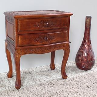 International Caravan Carved Wood 2-drawer End Table