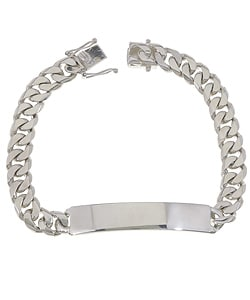 Sterling Essentials Sterling Silver 8.5-inch Cuban Link ID Bracelet