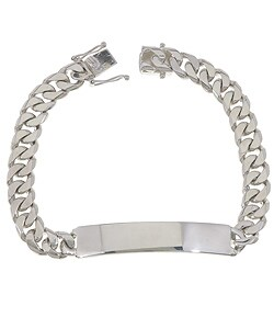 Sterling Silver 8.5-inch Cuban Link ID Bracelet