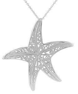Journee Collection Sterling Silver Polished Starfish Necklace - Thumbnail 0
