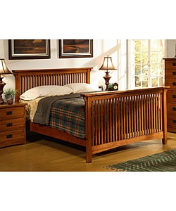 mission solid oak queen-size spindle bed - free shipping today