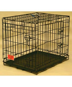 Double Door Medium 36-inch Electro Coat Finish Folding Dog Crate Cage