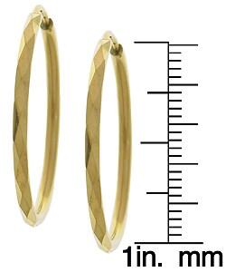 14k Faceted Yellow Gold Hoop Earrings