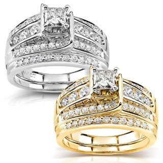 Annello 14k Gold 1ct TDW Diamond Princess-cut Bridal Ring Set (Options: 4, Yellow)