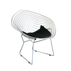 Rupert Chrome Steel Chair with Leatherette Seat Pad - Thumbnail 0