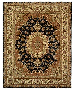 Safavieh Handmade Treasures Navy/ Ivory Wool and Silk Rug (9' x 12')