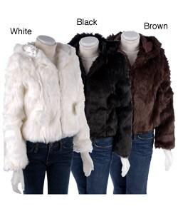 Thumbnail 1, B.B. Jeans Faux Fur Hooded Pom Pom Jacket.