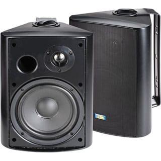 Black 6.5 120-Watt 2-Way Outdoor Patio Speakers