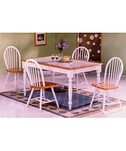 White Tile Top Table and 4 Windsor Chairs Set