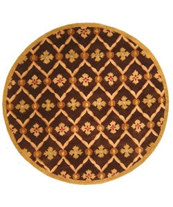 Hand-tufted Wool Brown Willow Rug (6' Round)