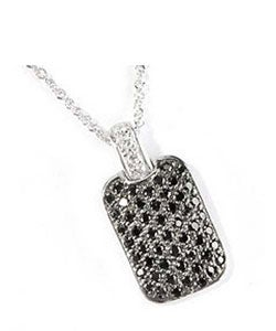 Charles Winston Black Dog Tag Cubic Zirconia Necklace ...