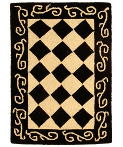 Safavieh Hand-hooked Diamond Black/ Ivory Wool Rug (1'8 x 2'6)