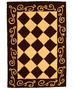 Safavieh Hand-hooked Diamond Brown/ Ivory Wool Rug (1'8 x 2'6)