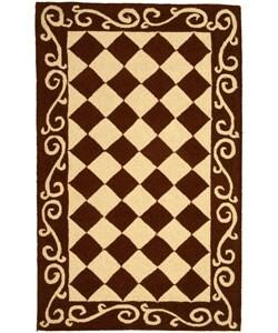 Safavieh Hand-hooked Diamond Brown/ Ivory Wool Rug (2'9 x 4'9)