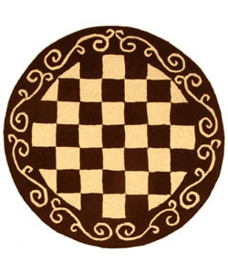 Safavieh Hand-hooked Diamond Brown/ Ivory Wool Rug (8' Round)