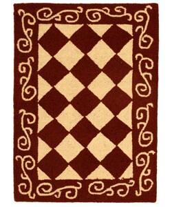 Safavieh Hand-hooked Diamond Burgundy/ Ivory Wool Rug (1'8 x 2'6)