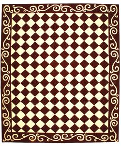 Safavieh Hand-hooked Diamond Burgundy/ Ivory Wool Rug (7'9 x 9'9)