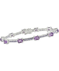 Amethyst and Tanzanite Silver Bracelet