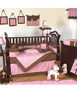 Pink Paisley 12 Piece Baby Bedding Set