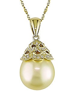 Miadora 14k Gold Yellow Cultured South Sea Pearl Necklace
