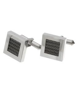 Men's Titanium and Black Steel Cufflinks