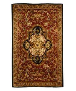 Safavieh Handmade Classic Royal Red/ Black Wool Rug (3' x 5')