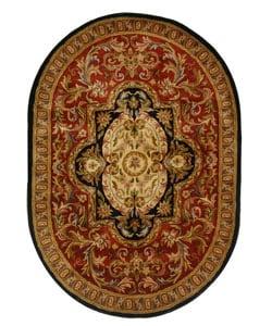 Safavieh Handmade Classic Royal Red/ Black Wool Rug (4'6 x 6'6 Oval)