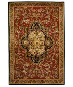 Safavieh Handmade Classic Royal Red/ Black Wool Rug (5' x 8') - Thumbnail 0