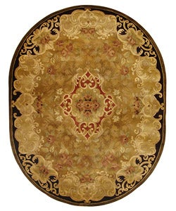 Safavieh Handmade Classic Juliette Gold Wool Rug (7'6 x 9'6 Oval)