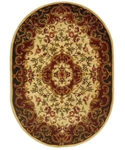 Safavieh Handmade Classic Juliette Ivory/ Green Wool Rug (4'6 x 6'6 Oval)