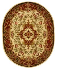 "Safavieh Handmade Classic Juliette Ivory/ Green Wool Rug (7'6 x 9'6 Oval) - 7'6"" x 9'6"""