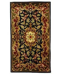 Safavieh Handmade Classic Juliette Black/ Green Wool Runner (2'3 x 4') - multi