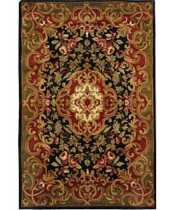 Safavieh Handmade Classic Juliette Black/ Green Wool Rug (4' x 6')