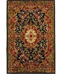 Safavieh Handmade Classic Juliette Black/ Green Wool Rug - 4' x 6'
