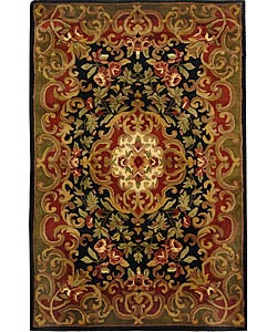 Safavieh Handmade Classic Juliette Black/ Green Wool Rug (5' x 8')