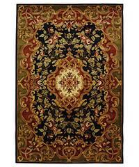 Safavieh Handmade Classic Juliette Black/ Green Wool Rug - 6' x 9'