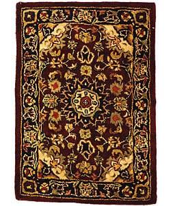 Safavieh Handmade Classic Kerman Burgundy/ Navy Wool Rug (2' x 3')