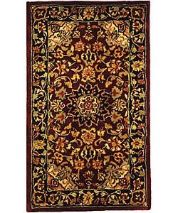 Safavieh Handmade Classic Kerman Burgundy/ Navy Wool Runner (2'3 x 4')
