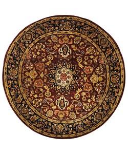Safavieh Handmade Classic Kerman Burgundy/ Navy Wool Rug (6' Round)