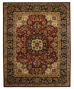Safavieh Handmade Classic Kerman Burgundy/ Navy Wool Rug (9'6 x 13'6) - Thumbnail 0