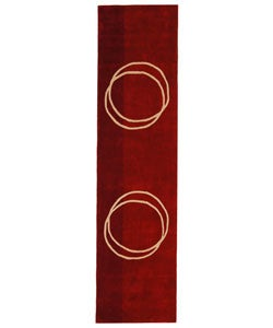 Safavieh Handmade Rodeo Drive Modern Abstract Red/ Ivory Wool Runner Rug (2'6 x 8')