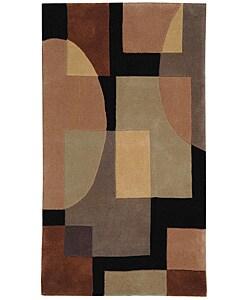 Safavieh Handmade Rodeo Drive Modern Abstract Olive/ Black Wool Rug (3'6 x 5'6)