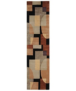 Safavieh Handmade Rodeo Drive Modern Abstract Olive/ Black Wool Runner Rug (2'6 x 10')