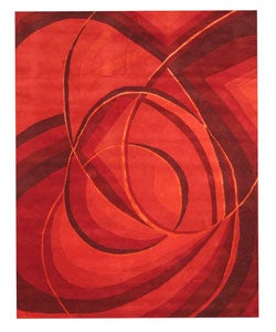 EORC Hand-tufted Wool Red New Red Modern Rug (8'9 x 11'9)