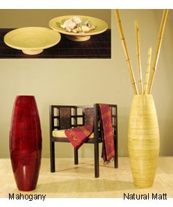 Bamboo Cylinder Floor Vase and 2 Candle Trays - Thumbnail 0