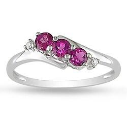 Miadora 10k White Gold Pink Tourmaline Ring