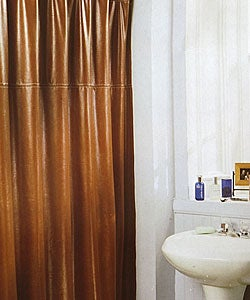 Brown Faux Leather Shower Curtain