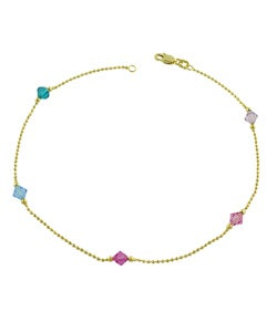 14k Yellow Gold Multicolored Crystal Anklet