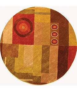 Safavieh Handmade Rodeo Drive Modern Abstract Khaki/ Rust Wool Rug (5'9 Round)